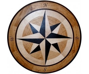 Wood Compass Rose Floor Medallion Inlay