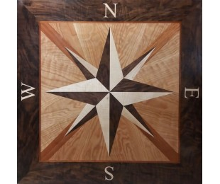 Wood Square Compass Rose Floor Inlay